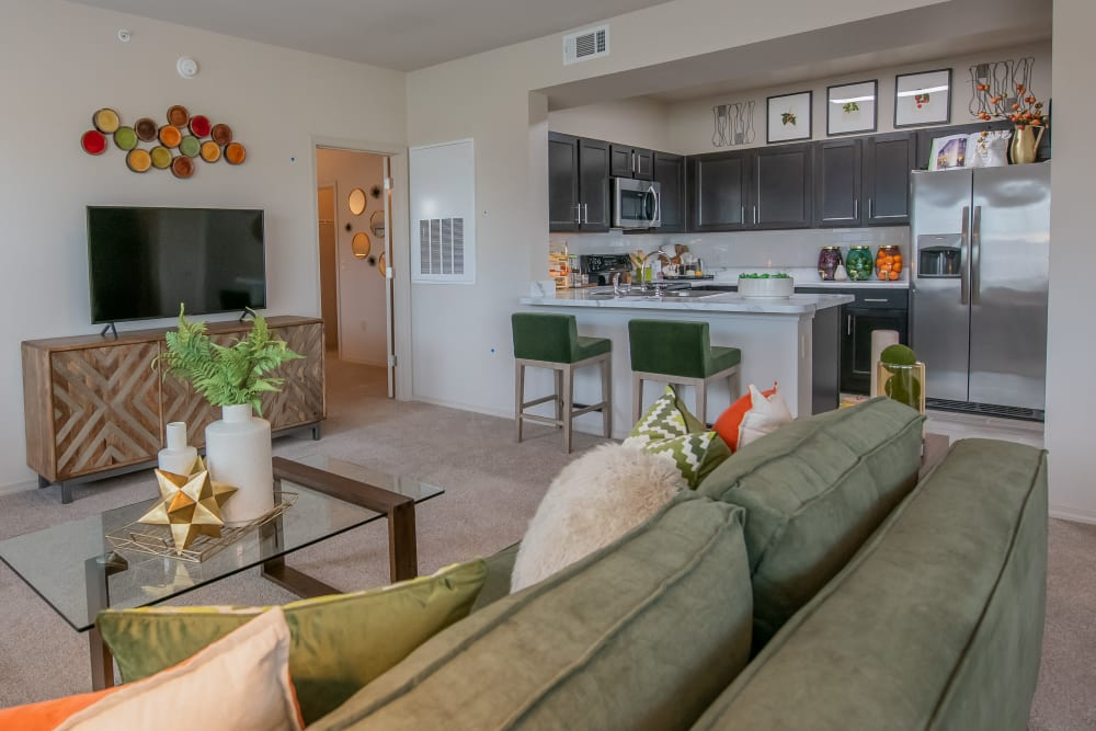 Spacious living room at Bend at New Road Apartments in Waco, Texas
