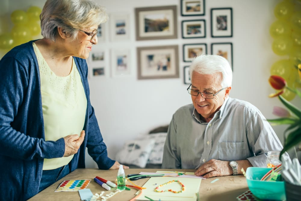 Resident working on arts and crafts at Talamore Senior Living in Sun Prairie, Wisconsin