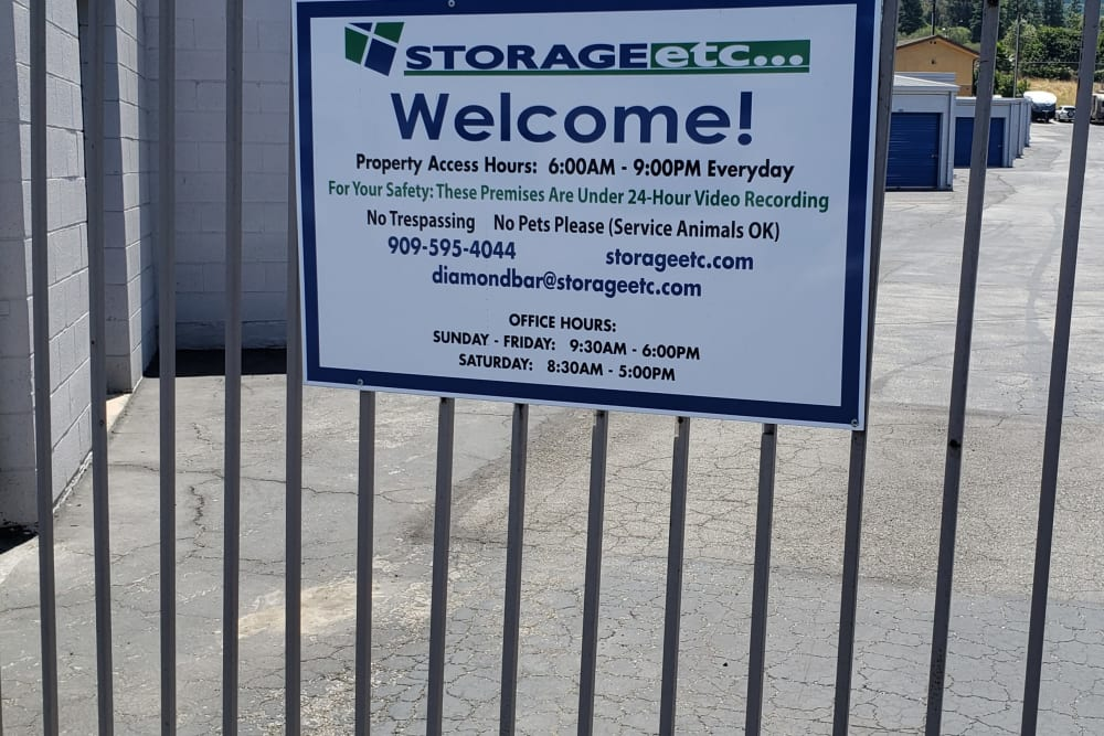 Secure gated entrance at Storage Etc Diamond Bar