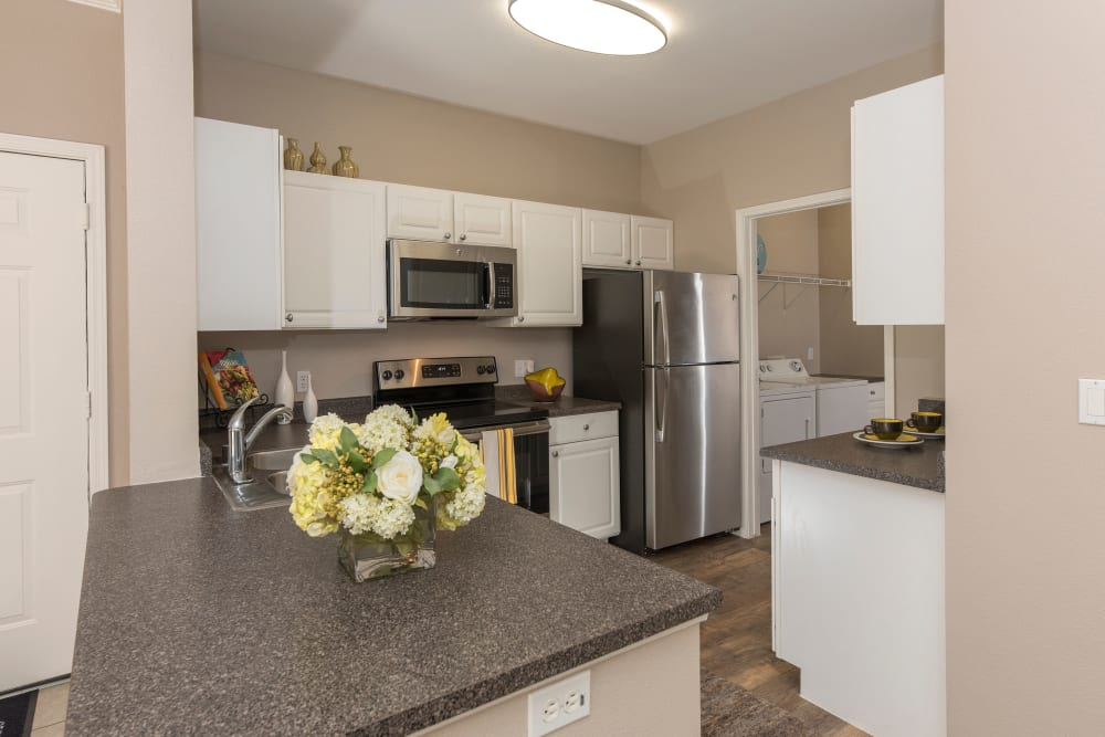 Kitchen with stainless-steel appliances at Cross Pointe Apartment Homes in Antioch, California