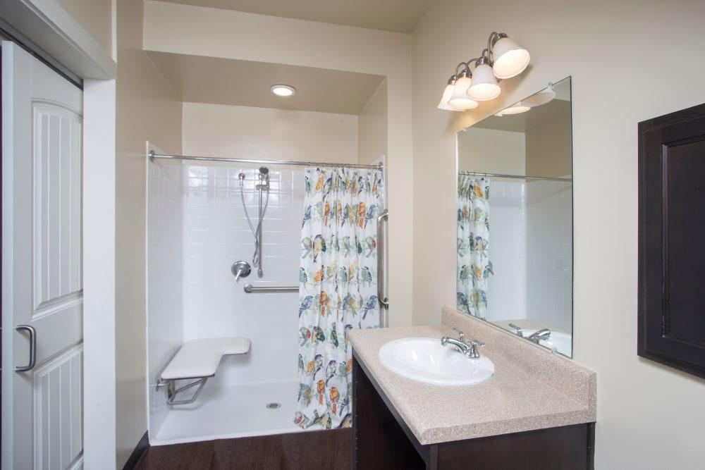 Bathroom in an apartment at The Claiborne at Thibodaux in Thibodaux, Louisiana