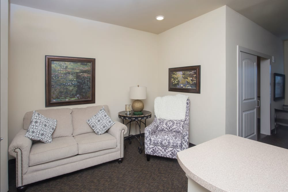 Living room view in an apartment at The Claiborne at Thibodaux in Thibodaux, Louisiana