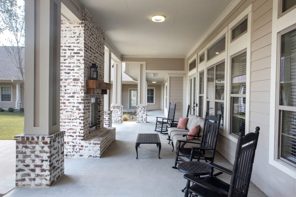 View of the outdoor living room at The Claiborne at Thibodaux in Thibodaux, Louisiana