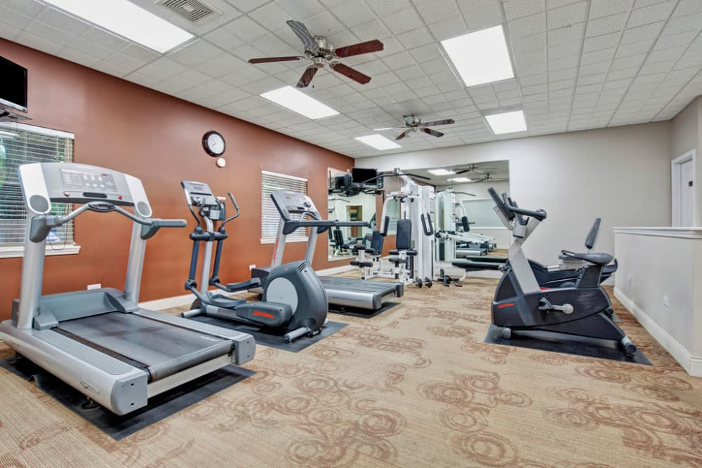 Fitness center at Blackhawk Apartments in Elgin, Illinois