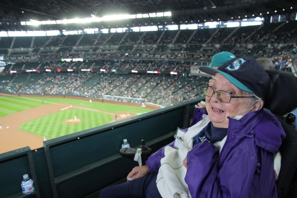 A resident at a Mariners game near Nikkei Manor in Seattle, Washington