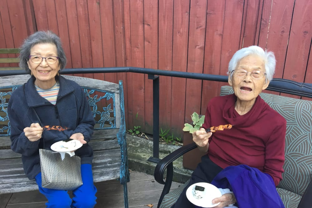 Residents enjoying a barbecue at Nikkei Manor in Seattle, Washington