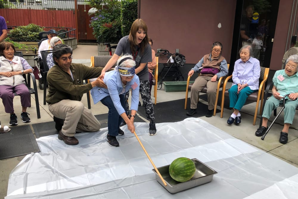 Residents playing games at Nikkei Manor in Seattle, Washington