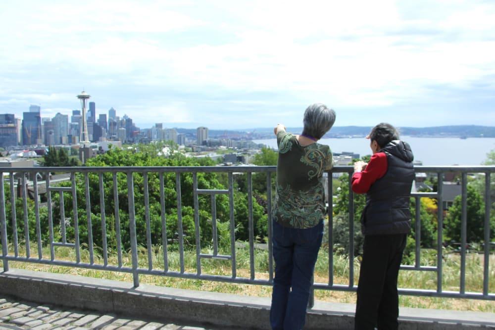 Two residents enjoying a nice view near Nikkei Manor in Seattle, Washington