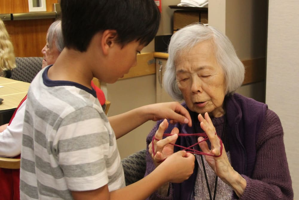 A resident and her grandson at Nikkei Manor in Seattle, Washington