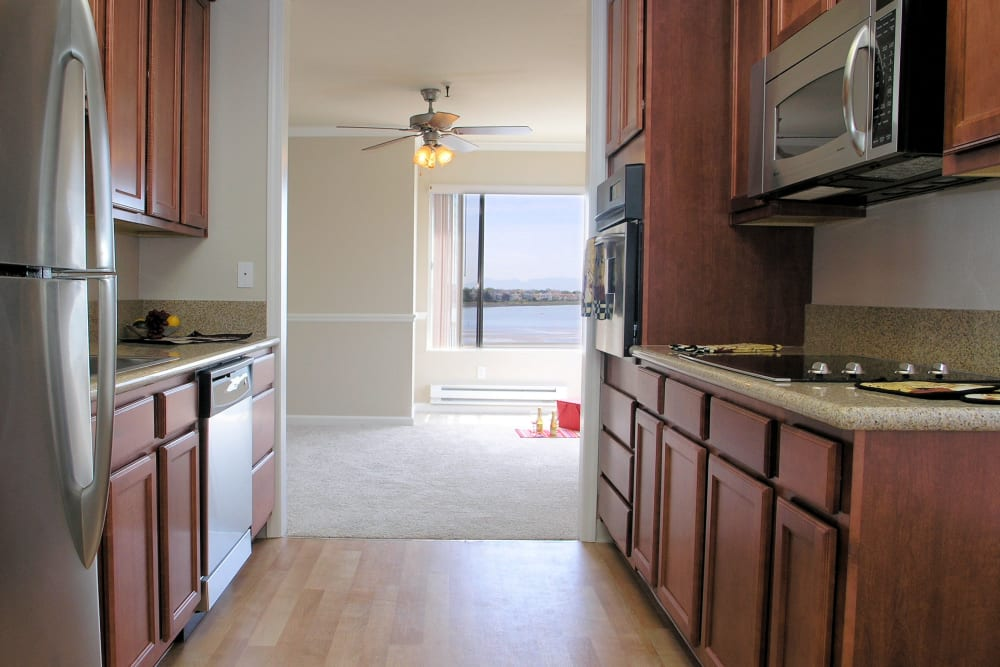 Standard apartment kitchen at Tower Apartment Homes in Alameda, California