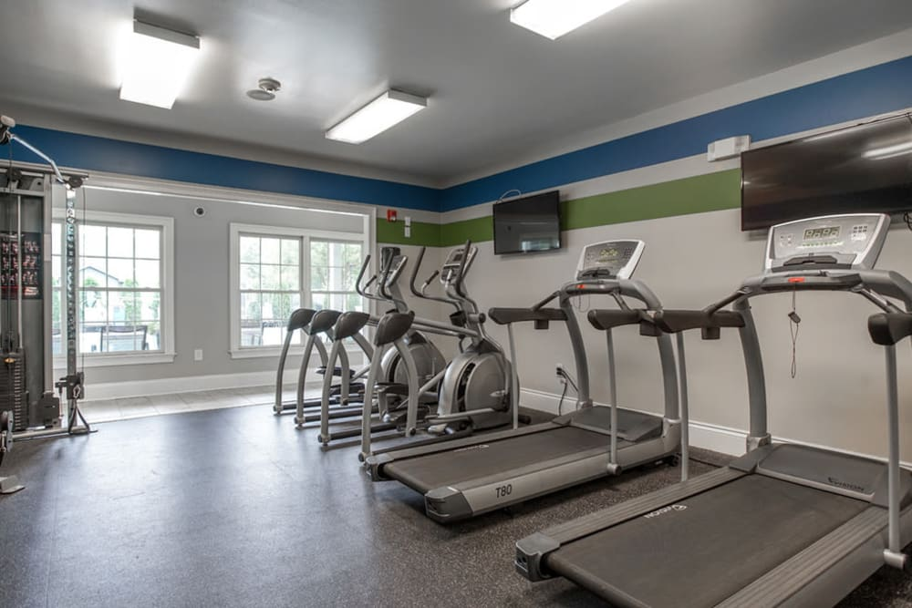 Exercise equipment in the fitness center at Peachtree Landing in Fairburn, Georgia