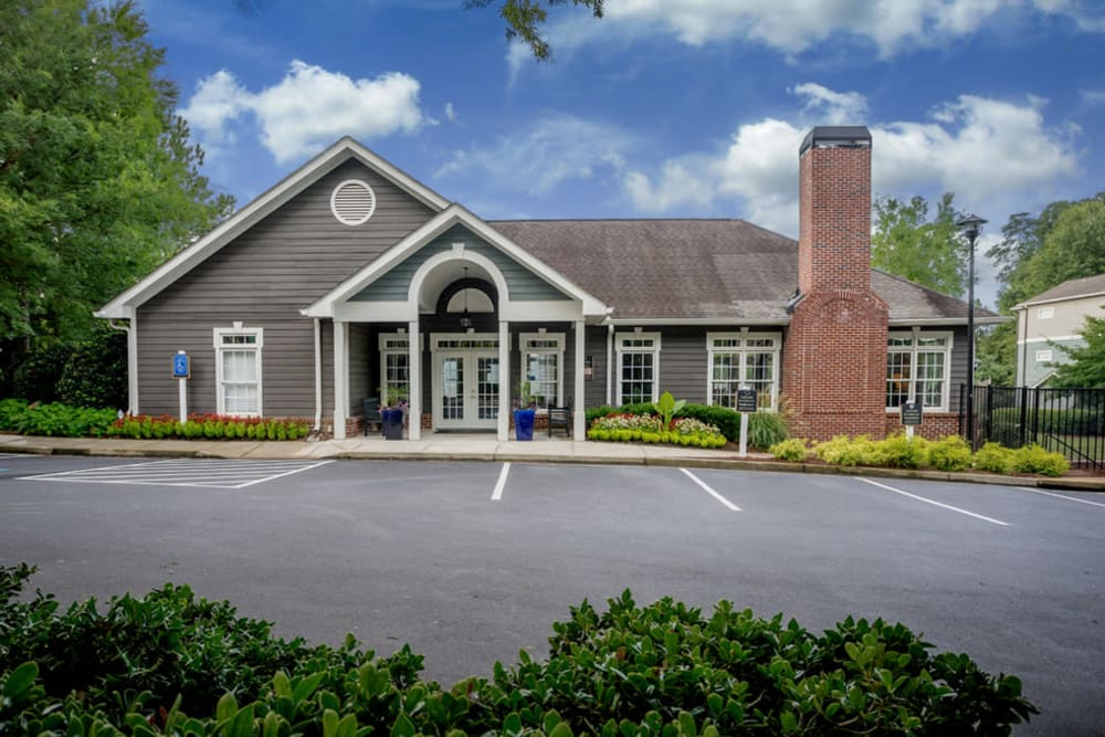 Exterior of the leasing office at Peachtree Landing in Fairburn, Georgia
