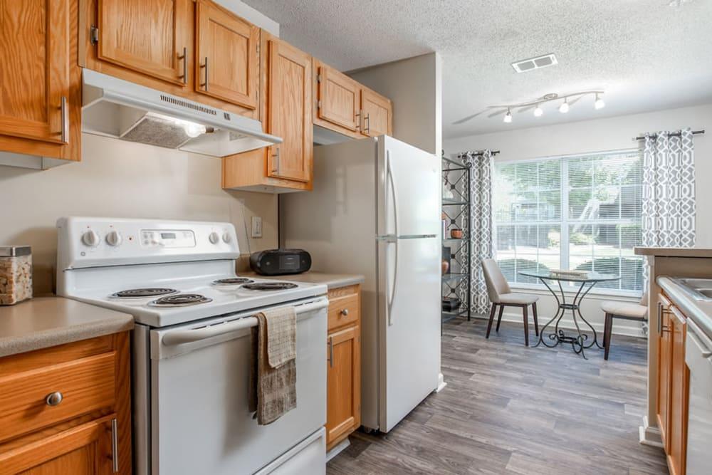 Fully equipped kitchen at Monterey Village in Jonesboro, Georgia