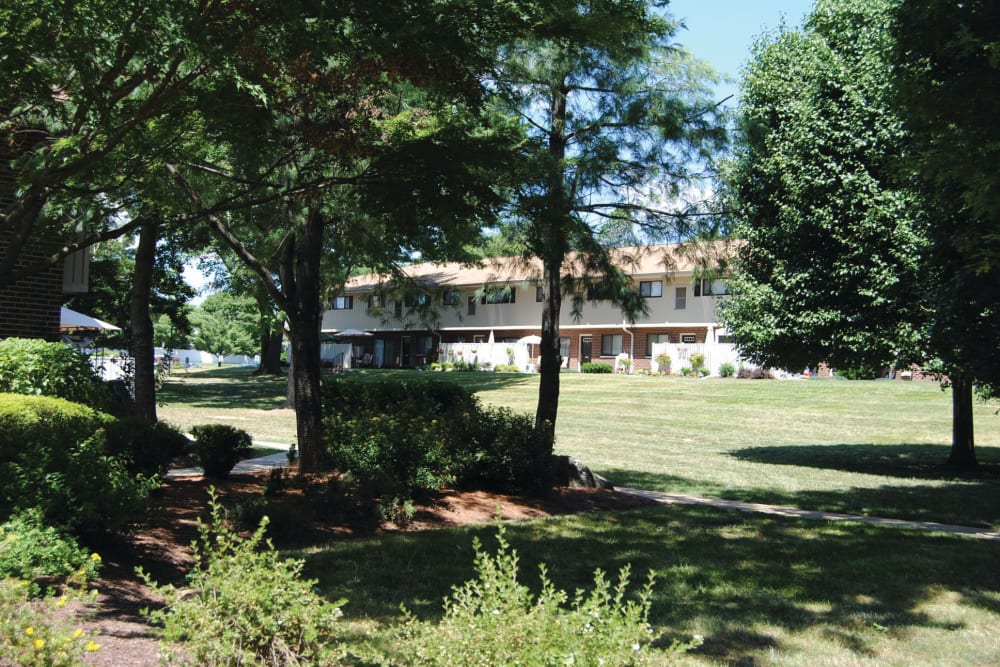 Lush landscaping at Racquet Club Apartments and Townhomes in Levittown, Pennsylvania