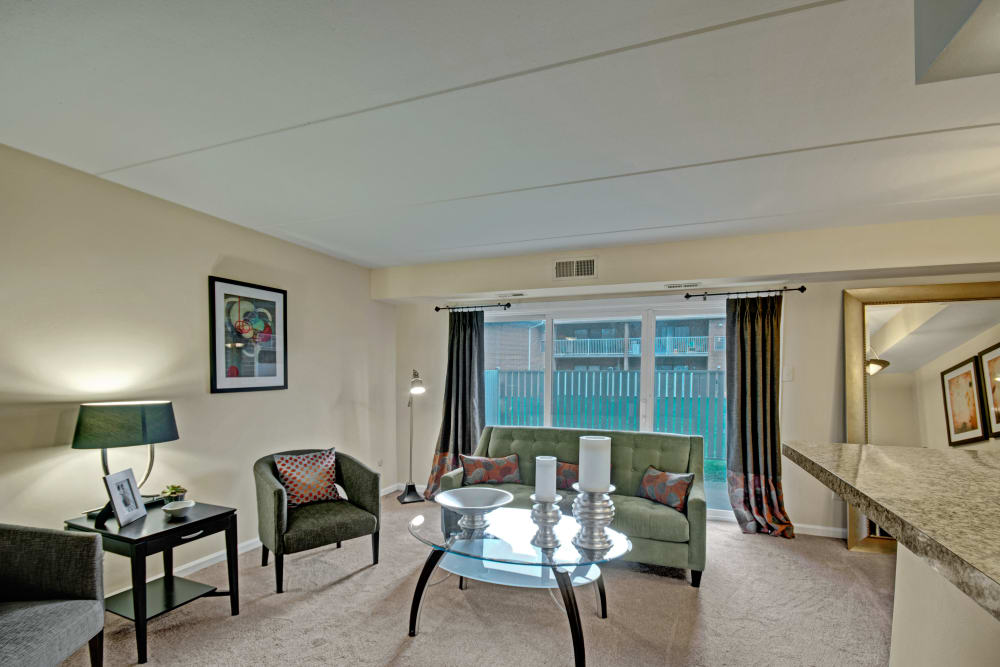 Bright living room at Racquet Club Apartments and Townhomes in Levittown, Pennsylvania