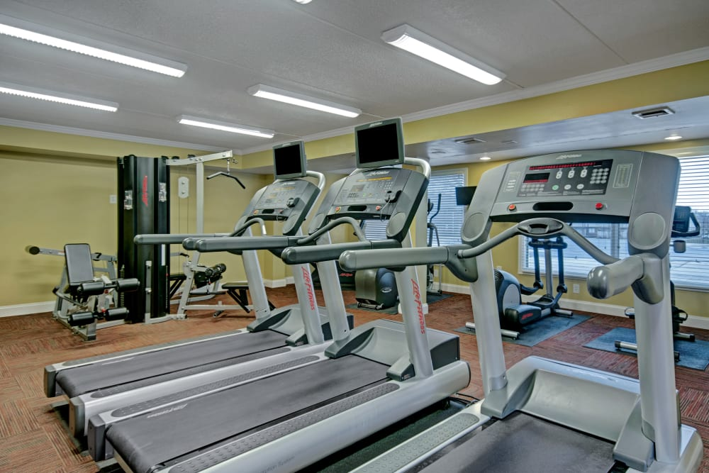 Treadmills in the fitness center at Racquet Club Apartments and Townhomes in Levittown, Pennsylvania