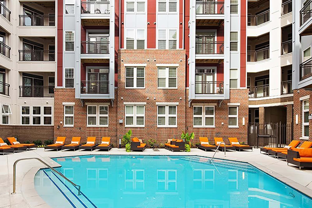 Luxurious swimming pool at Palette at Arts District in Hyattsville, Maryland