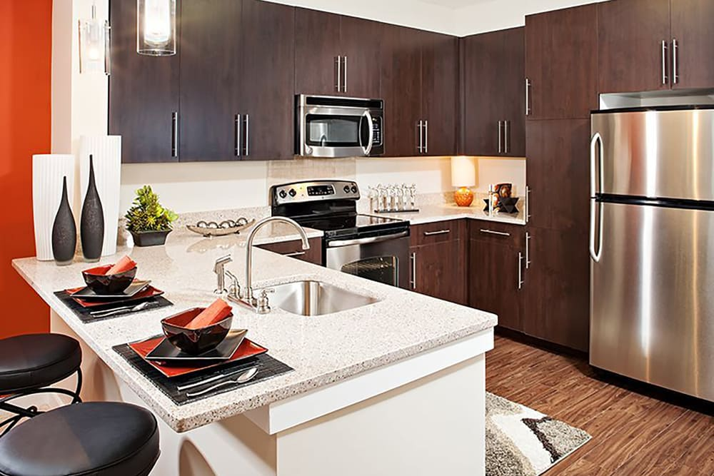 Stainless steel appliances at Palette at Arts District in Hyattsville, Maryland