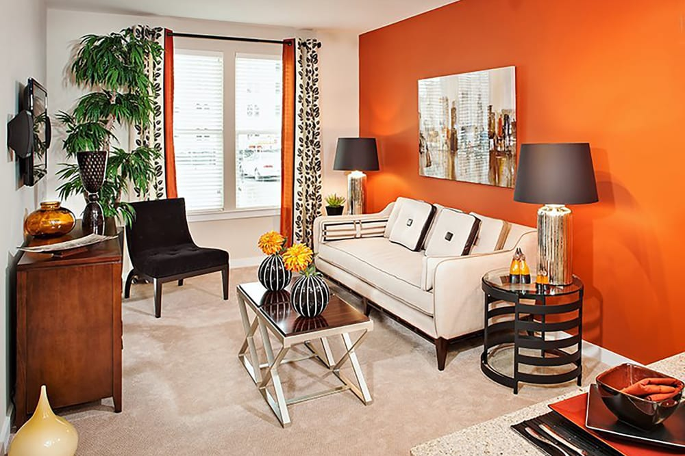 Bright living room at Palette at Arts District in Hyattsville, Maryland