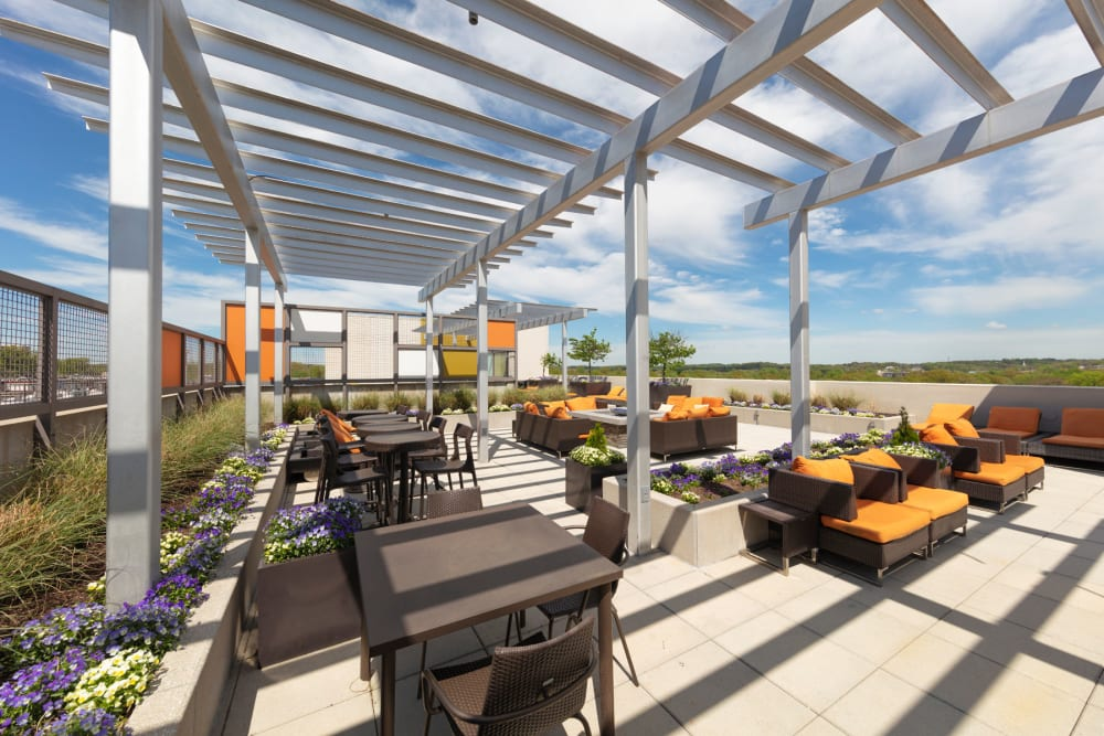 Rooftop seating at Palette at Arts District in Hyattsville, Maryland