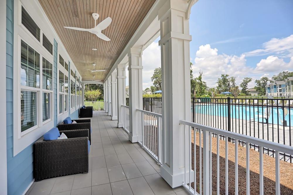 Outdoor seating poolside at The Slate in Savannah, Georgia