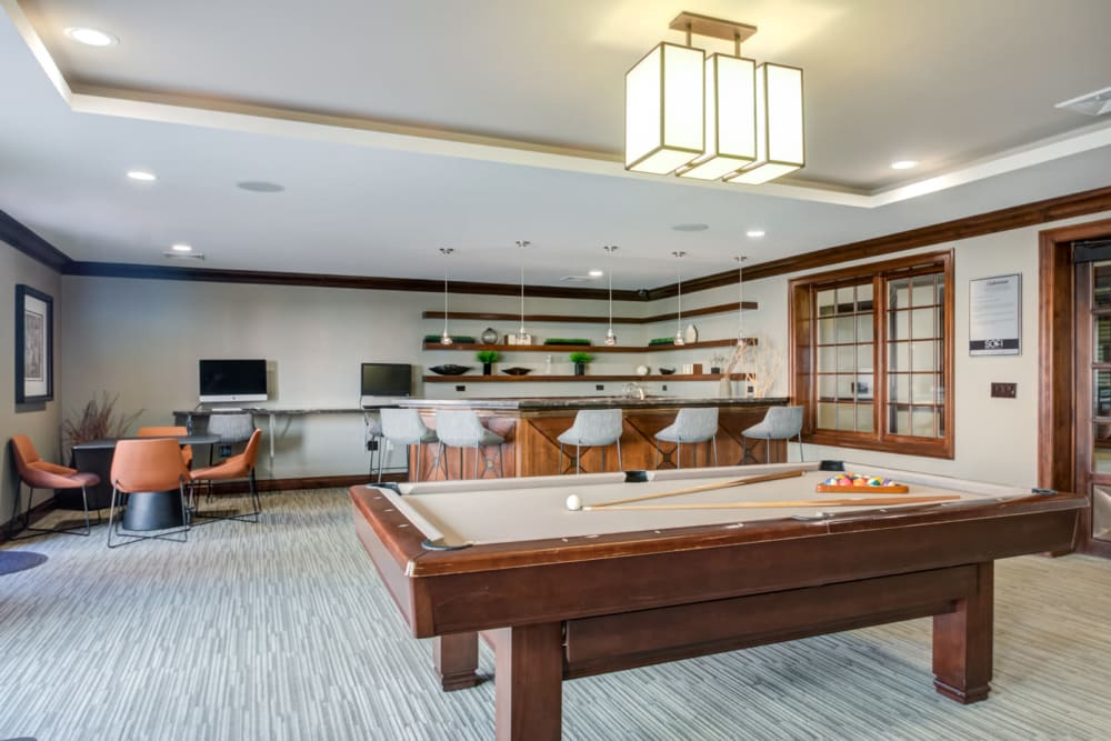 Recreation room with a pool table at Sofi at Morristown Station in Morristown, New Jersey