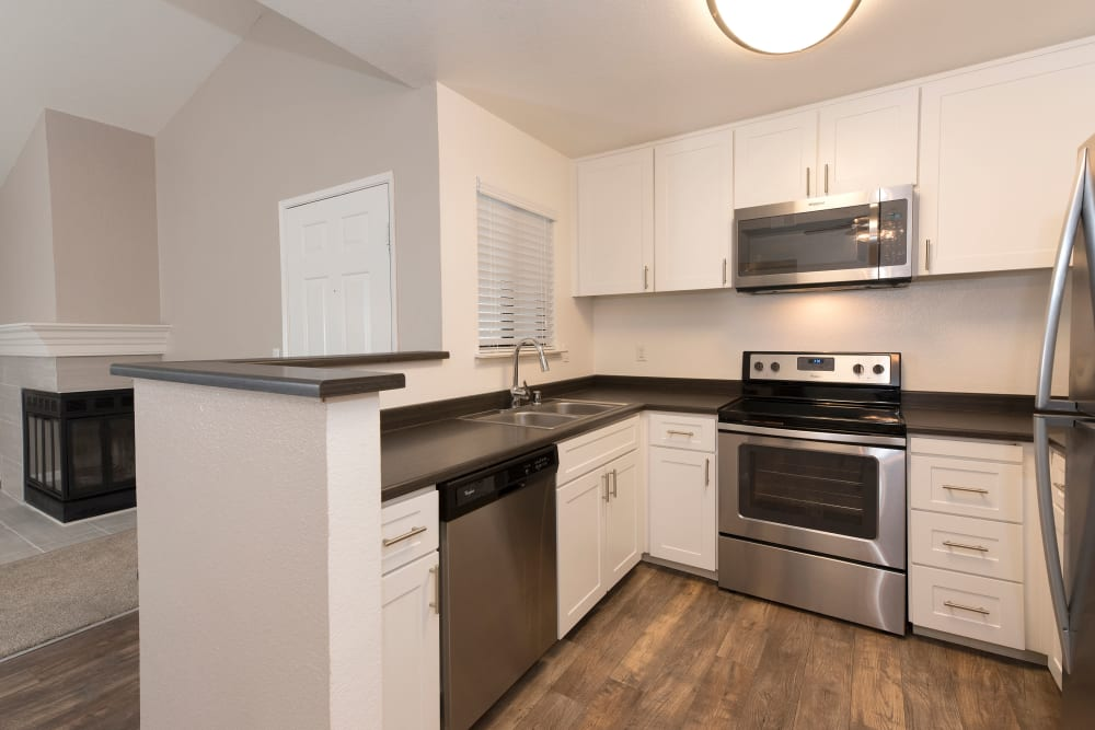 Stainless-steel appliances at Park Ridge Apartment Homes in Rohnert Park, California