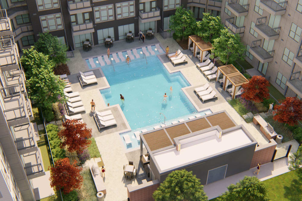 Aerial rendering of the swimming pool area at Olympus on Broadway in Carrollton, Texas