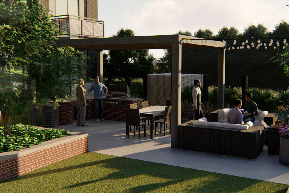 Outdoor lounge area rendering at Olympus on Broadway in Carrollton, Texas