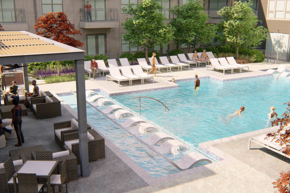 Rendering of the pool area flanked by lounge chairs and an in-pool sundeck at Olympus on Broadway in Carrollton, Texas
