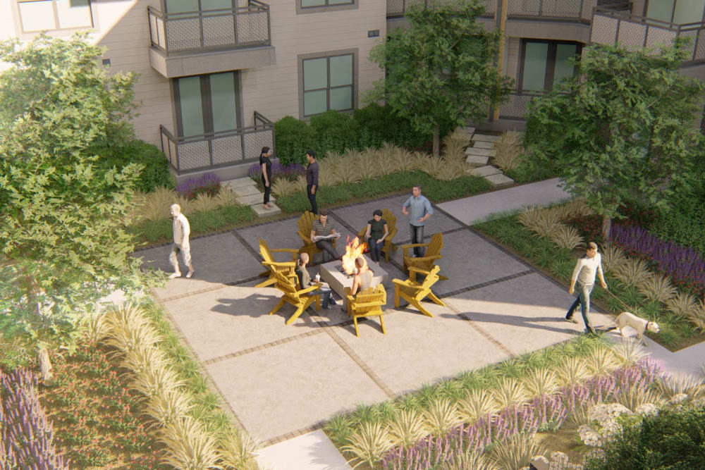Rendering of the main fire pit area at Olympus on Broadway in Carrollton, Texas