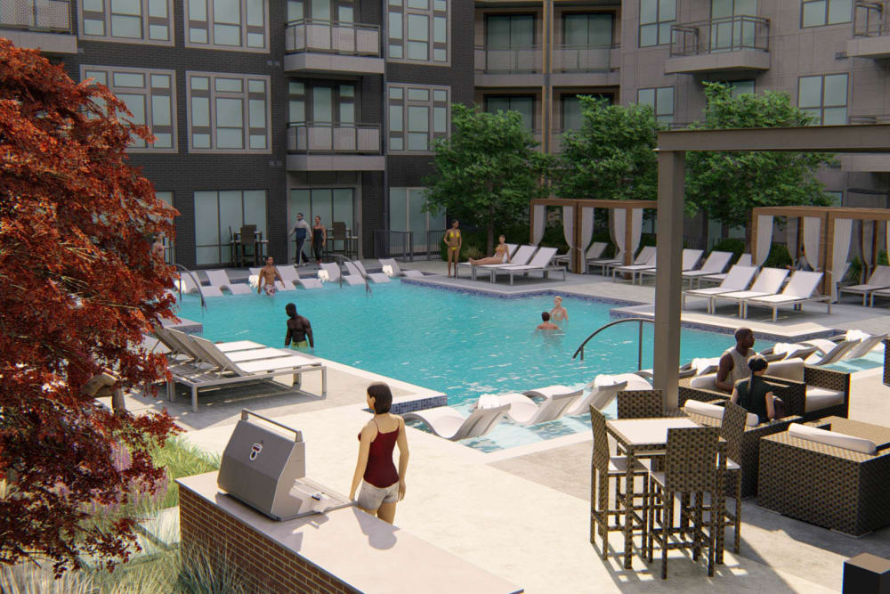 Rendering of the barbecue lounge area near the swimming pool at Olympus on Broadway in Carrollton, Texas
