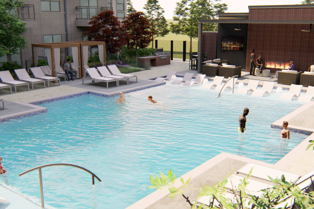 Rendering of the pool and nearby fire pit lounge at Olympus on Broadway in Carrollton, Texas