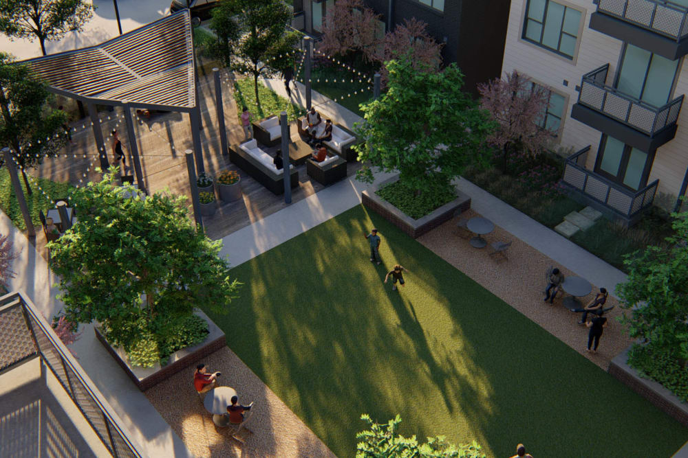 Aerial rendering of professionally maintained landscaping around exterior common areas at Olympus on Broadway in Carrollton, Texas