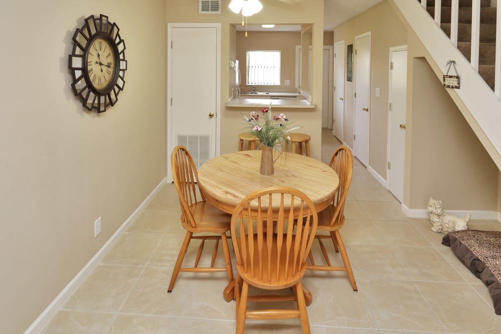 Dining area at Stonewood Townhomes in Melbourne, Florida