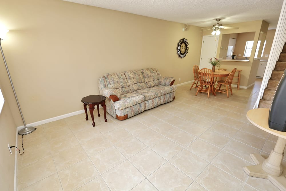 Spacious living room at Stonewood Townhomes in Melbourne, Florida