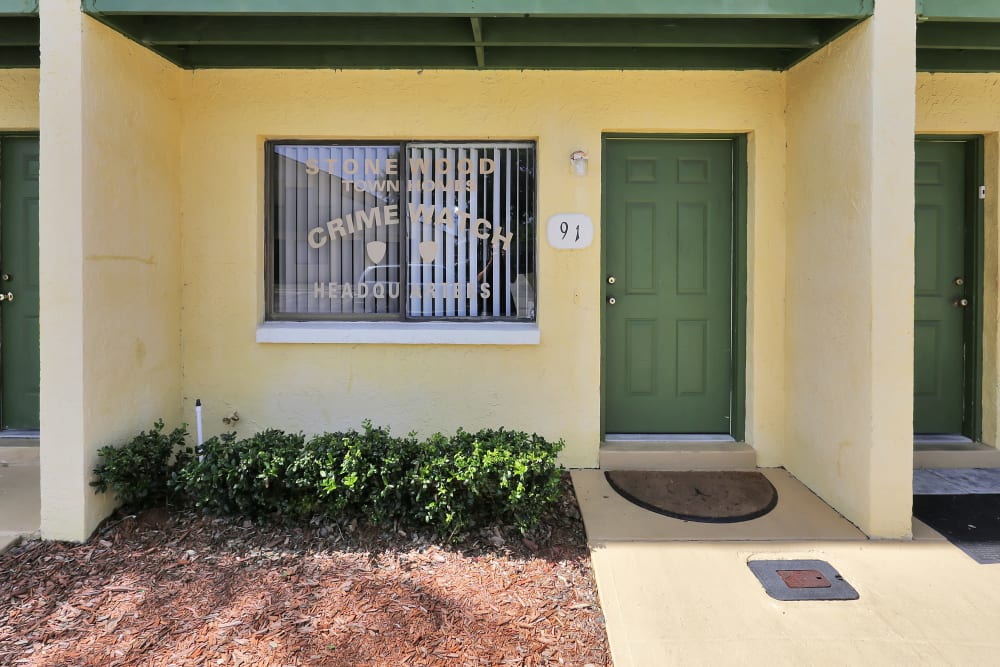 Entrance to a townhome at Stonewood Townhomes in Melbourne, Florida