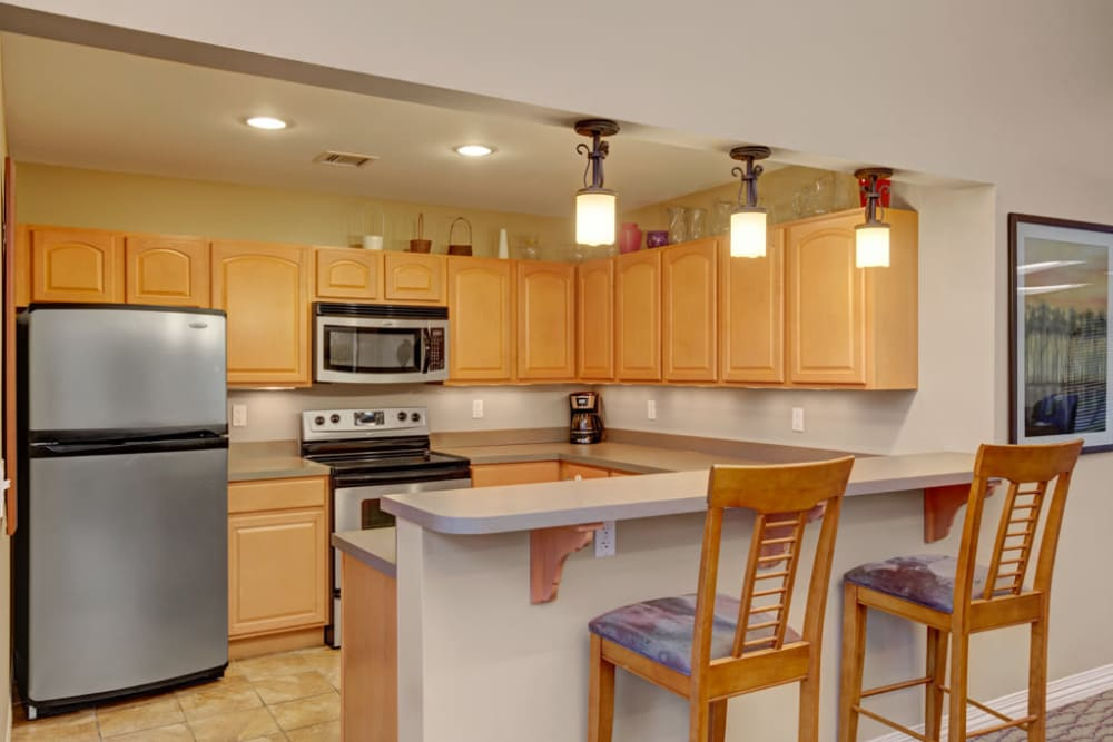 Community kitchen area at Ridgeview at Wakefield Valley in Westminster, Maryland