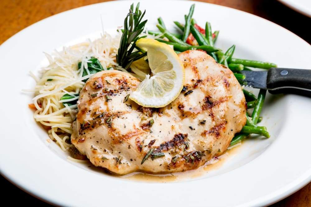 Grilled chicken and pasta at Estancia Senior Living in Fallbrook, California