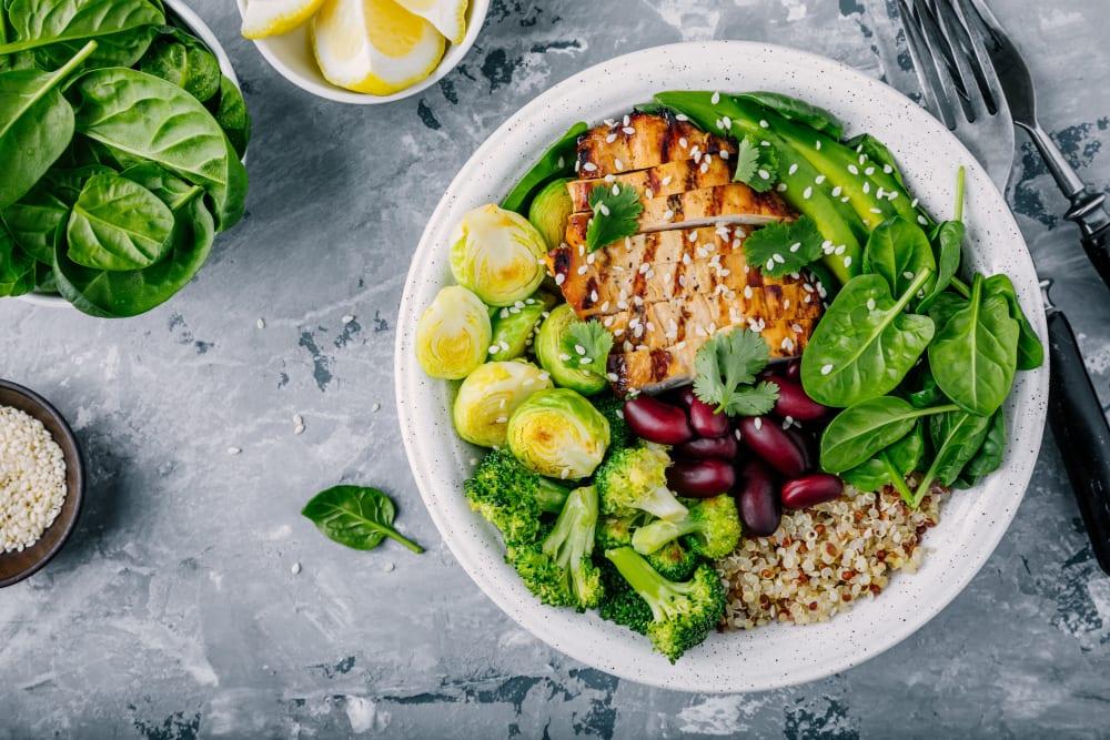 Lavish salad arrangement from Estancia Senior Living in Fallbrook, California