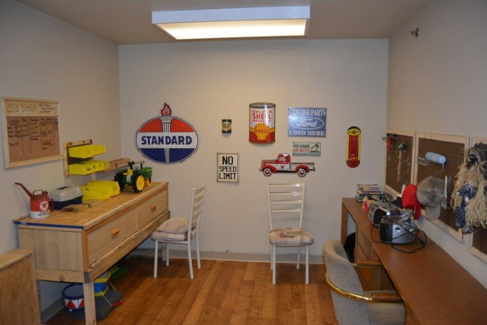 Memory station with farm toys and work stations at Courtyard Estates at Hawthorne Crossing in Bondurant, Iowa.