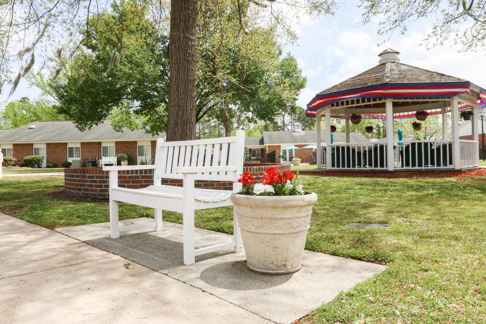 A bench outside at Courtyards at Berne Village in New Bern, North Carolina.