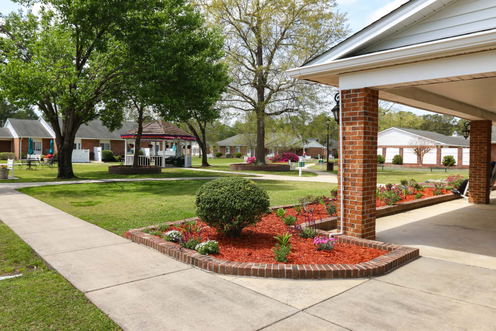 The entrance to Courtyards at Berne Village in New Bern, North Carolina.