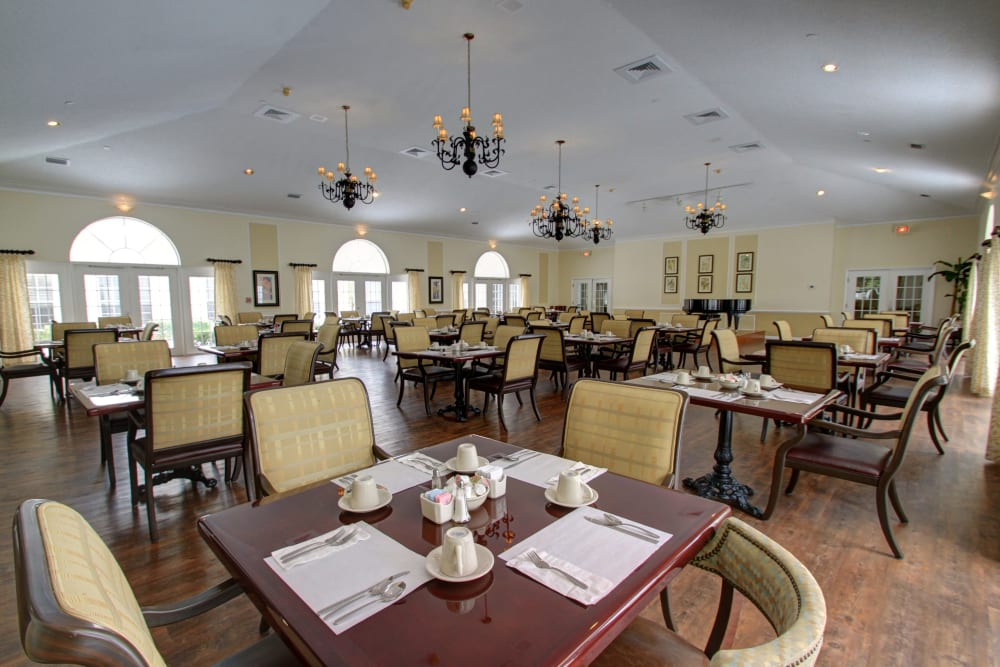A large dining room at Truewood by Merrill, Bradenton in Bradenton, Florida