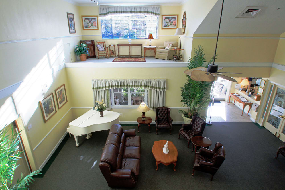 The main lobby from above at Sunset Lake Village Senior Living in Venice, FL