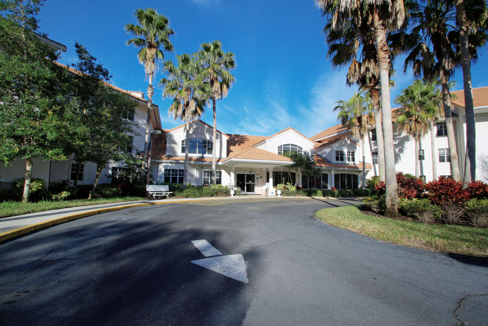 Main entrance at Sunset Lake Village in Venice, Florida.