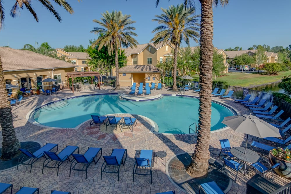 Pool area and beautiful palm trees at Palms at World Gateway in Orlando, Florida
