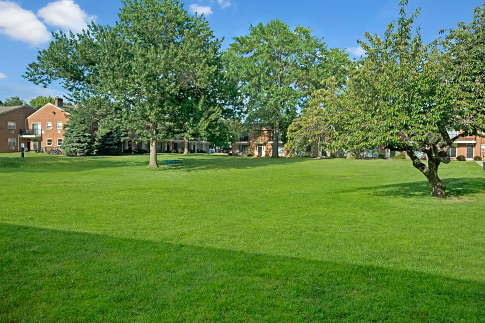 Lush landscaping at New Orleans Park Apartments in Secane, Pennsylvania