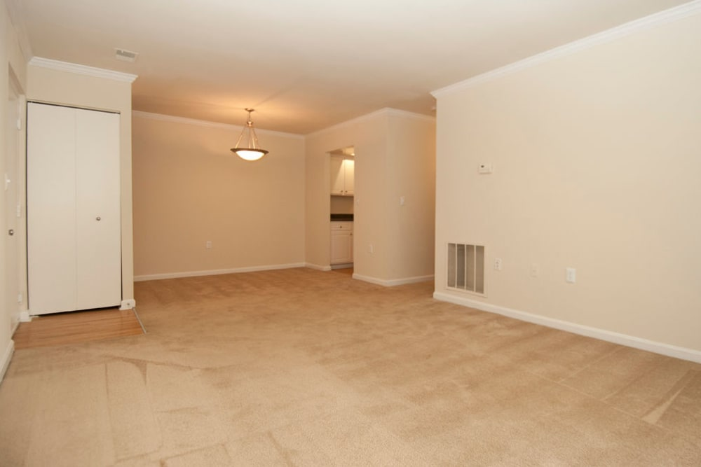 Spacious living room at Brookside View in Gaithersburg, Maryland