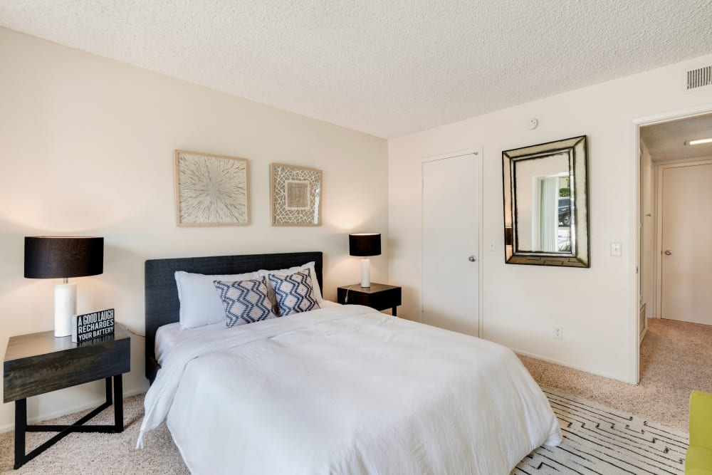 Cozy bedroom at The Heights at Grand Terrace in Grand Terrace, California